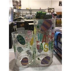 Heritage Home Easter 2-Piece LED Lighted Hand Painted Glass Hurricane Set no box