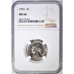 1955 JEFFERSON NICKEL NGC MS-66