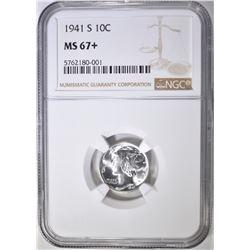 1941-S MERCURY DIME, NGC MS-67+
