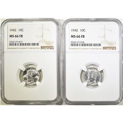 2-1942 MERCURY DIMES, NGC MS-66 FB