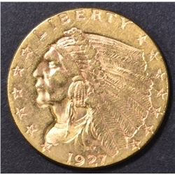1927 $2.50 GOLD INDIAN, CH AU