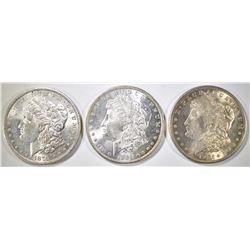 1879-O, 84-O & 1921-S MORGAN DOLLARS  CH BU