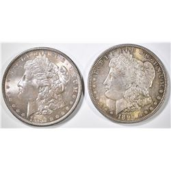 1886 & 1896 MORGAN DOLLARS  CH/GEM BU  COLOR!
