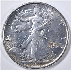 1918-D WALKING LIBERTY HALF DOLLAR  AU/BU