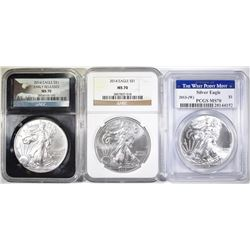 3 MS-70 AMERICAN SILVER EAGLES: