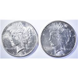 (2) 1922-S PEACE DOLLARS   CH BU