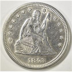 1873 SEATED LIBERTY QUARTER   AU