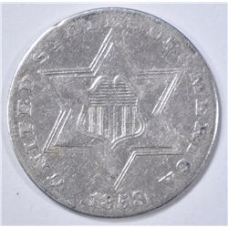 1858 3 CENT SILVER  XF