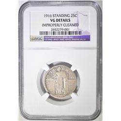 1916 STANDING LIBERTY QUARTER NGC VG CLEANED