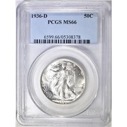 1936-D WALKING LIBERTY HALF DOLLAR PCGS MS-66