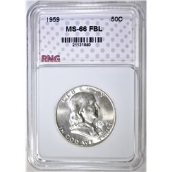 1959 FRANKLIN HALF DOLLAR, RNG SUPERB GEM BU FBL