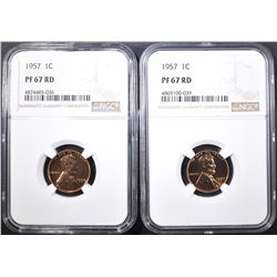 2-1957 LINCOLN CENTS, NGC PF-67 RED