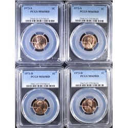 2-1973-D & 2-73-S LINCOLN CENTS, PCGS MS-65 RED