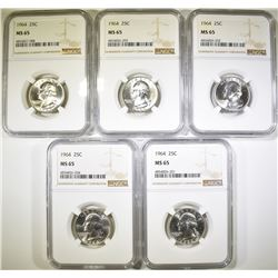 (5) 1964 WASHINGTON QTR NGC MS65