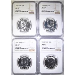 2-1966 SMS & 2-67 SMS KENNEDY HALVES, NGC MS-67