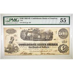 1862-3 $100 CSA T-40  PMG 55