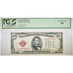 1928C $5 RED SEAL LEGAL TENDER NOTE  PCGS 64