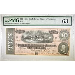 1864 $10 CSA  PMG 63