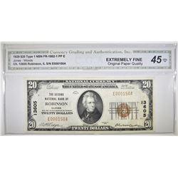 1929 $20 TYPE 1 NATIONAL CURRENCY  CGA EF OPQ