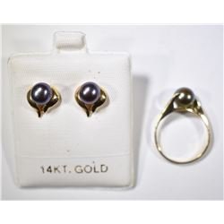 14KT GOLD BLACK PEARL EARRINGS & MATCHING RING