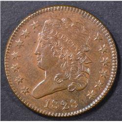 1828 HALF CENT 13 STARS CH UNC RB