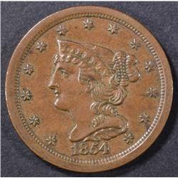 1854 HALF CENT  CH UNC RB