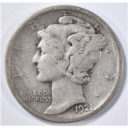 1921-D FB MERCURY DIME VF