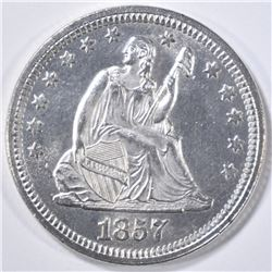 1857 SEATED LIBERTY QUARTER  GEM BU BLAZER