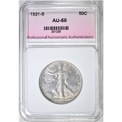 1921-S WALKING LIBERTY HALF DOLLAR  PNA AU BU