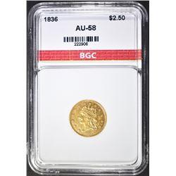 1836 $2.5 GOLD CLASSIC HEAD  BGC AU BU