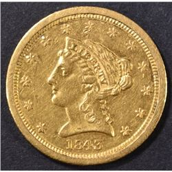 1843-O $2.5 GOLD SMALL DATE LIBERTY HEAD BU
