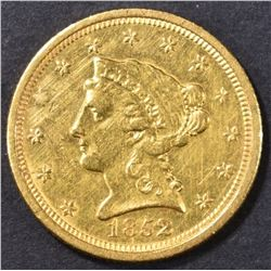 1852-O $2.5 GOLD LIBERTY HEAD BU