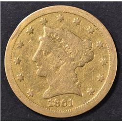 1861-S $2.5 GOLD LIBERTY  F-VF