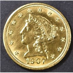1907 $2.5 GOLD LIBERTY HEAD  CH/GEM BU