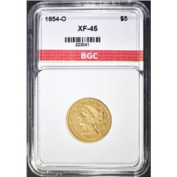 1854-O $5 GOLD LIBERTY HEAD BGC EF/AU
