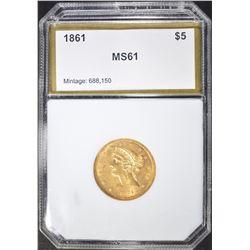 1861 $5 GOLD LIBERTY  PCI CH BU