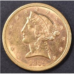 1879-S $5 GOLD LIBERTY HEAD  CH BU