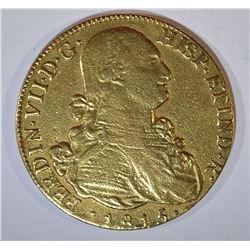 1815 GOLD 8 ESCUDOS  CHILE:  FERDINAND VII XF/AU