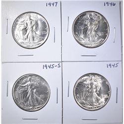1945-P,S, 46, 47 WALKING LIBERTY HALVES BU