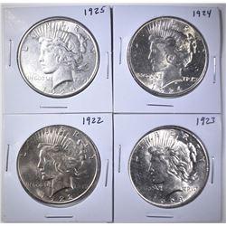 1922, 23, 24, 25 PEACE DOLLARS BU