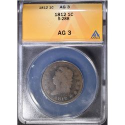 1812 LARGE CENT ANACS AG-3,  S-288
