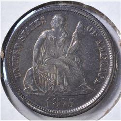 1875-CC LIBERTY SEATED DIME AU/UNC