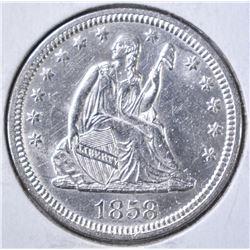 1858 LIBERTY SEATED QUARTER  BU