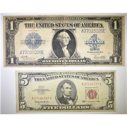 1923 $1 SILVER CERTIFICATE & 1963 $5 RED SEAL