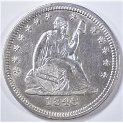 1846 SEATED LIBERTY QUARTER   AU/BU