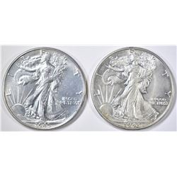 1943 & 45 WALKING LIBERTY HALVES CH BU