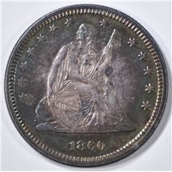 1860 SEATED QUARTER  CH BU  COLOR