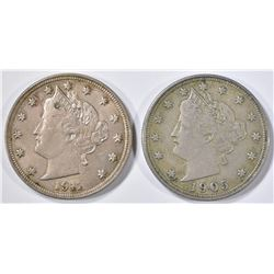 1911 AU/BU & 1905 XF LIBERTY NICKELS