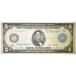 1914 $5 FEDERAL RESERVE NOTE BLUE SEAL VG