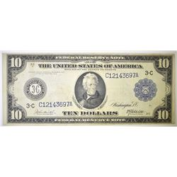 1914 $10 FEDERAL RESERVE NOTE BLUE SEAL VF